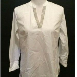 Soft Surroundings Tunic Top PS White Silver Metal